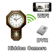 WiFi Oak Wood Wall Clock Hidden Camera Spy Camera Nanny Cam